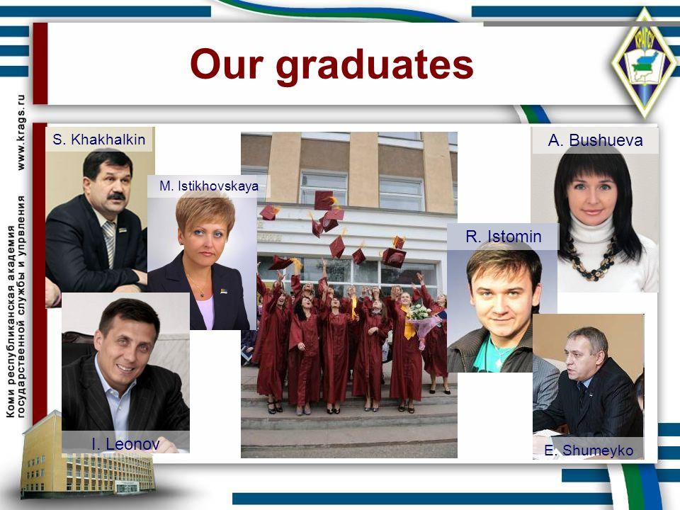 Our graduates S. Khakhalkin A. Bushueva R. Istomin M. Istikhovskaya I. Leonov E. Shumeyko