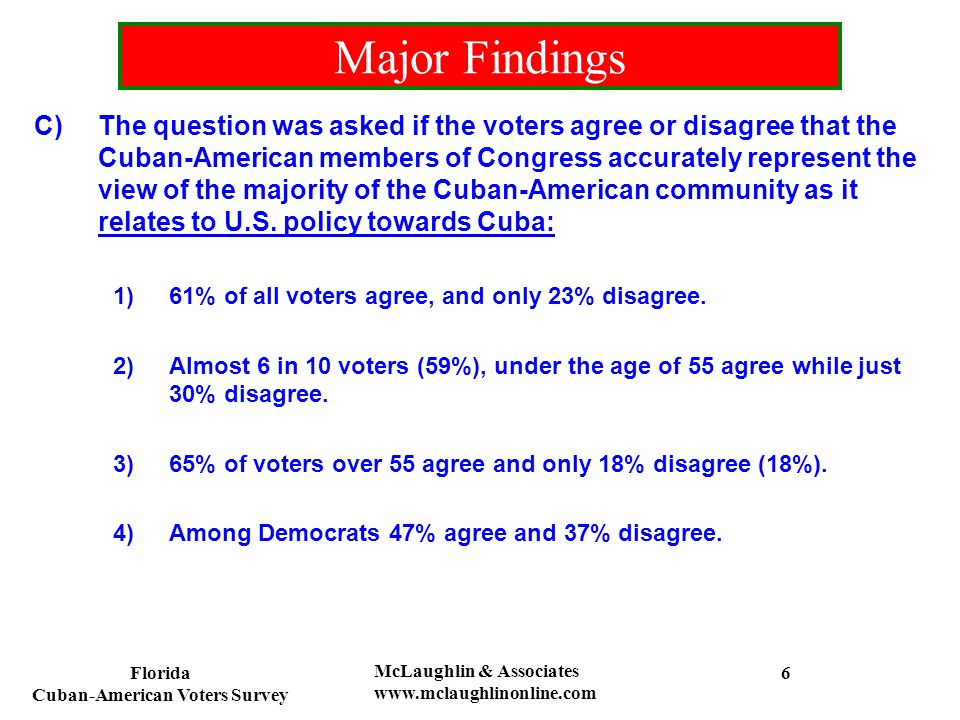 Florida Cuban-American Voters Survey McLaughlin & Associates www.mclaughlinonline.com Do you agree or disagree that the Cuban-American Members of Congress accurately represent the view of the majority of the Cuban- American community as it relates to U.S.