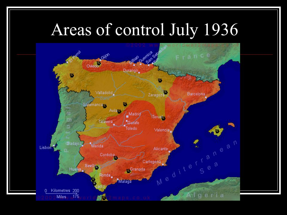 Areas of control July 1936