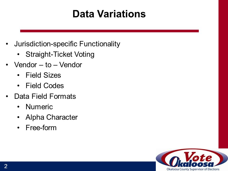 2 Data Variations Jurisdiction-specific Functionality Straight-Ticket Voting Vendor – to – Vendor Field Sizes Field Codes Data Field Formats Numeric Alpha Character Free-form