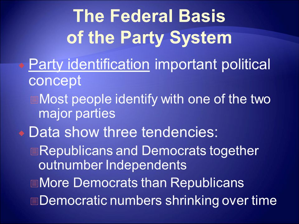 The Federal Basis of the Party System  Party identification important political concept  Most people identify with one of the two major parties  Data show three tendencies:  Republicans and Democrats together outnumber Independents  More Democrats than Republicans  Democratic numbers shrinking over time
