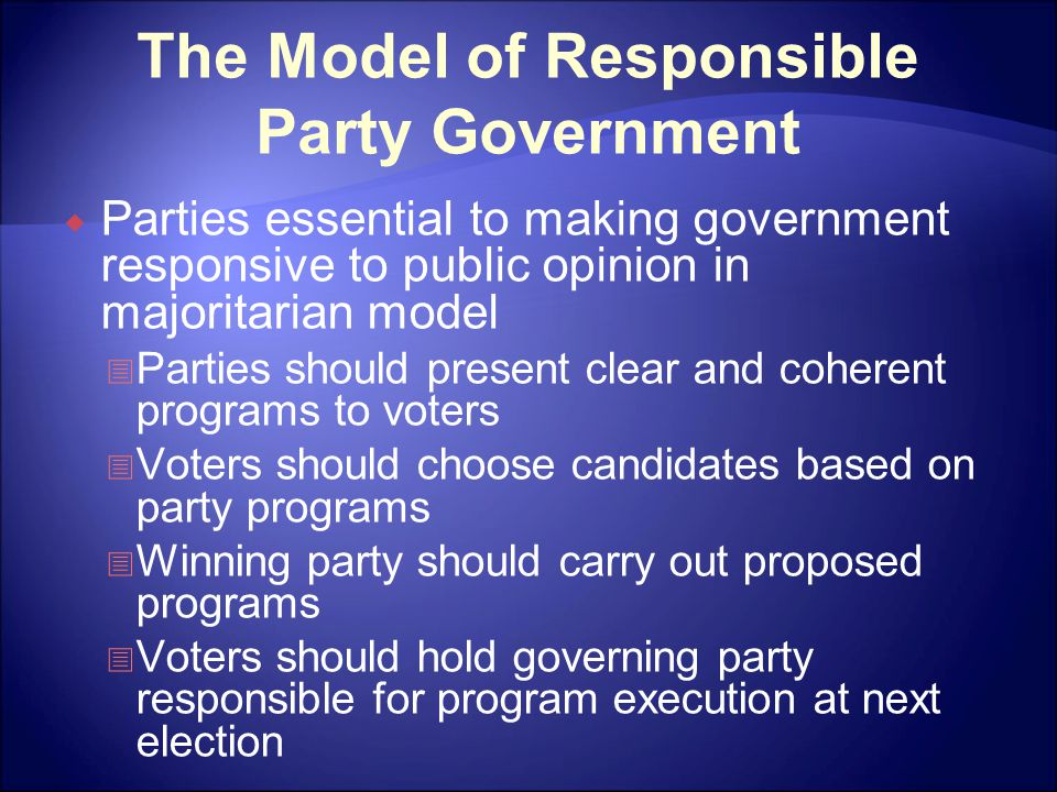The Model of Responsible Party Government  Parties essential to making government responsive to public opinion in majoritarian model  Parties should present clear and coherent programs to voters  Voters should choose candidates based on party programs  Winning party should carry out proposed programs  Voters should hold governing party responsible for program execution at next election