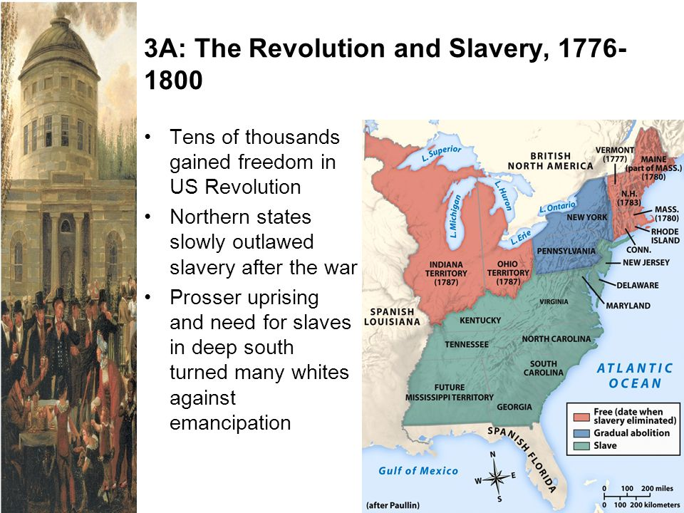 3A: The Revolution and Slavery, 1776- 1800 Tens of thousands gained freedom in US Revolution Northern states slowly outlawed slavery after the war Pro