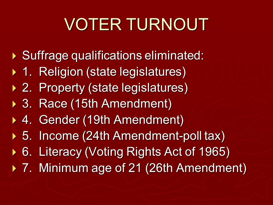 VOTER TURNOUT  Suffrage qualifications eliminated:  1. Religion (state legislatures)  2. Property (state legislatures)  3. Race (15th Amendment) 
