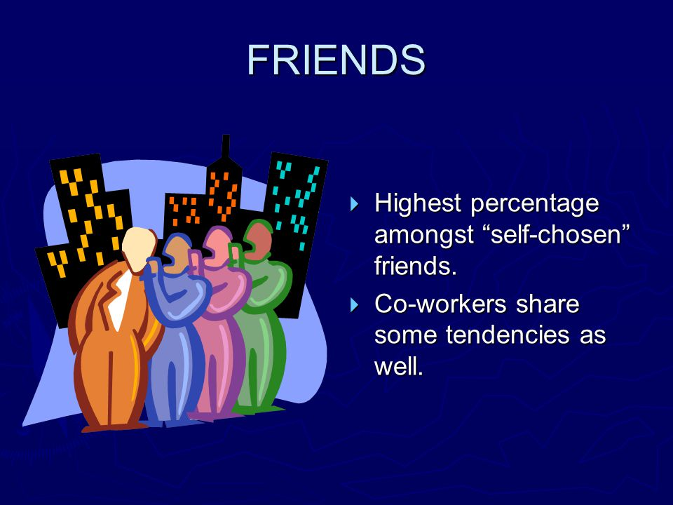 "FRIENDS  Highest percentage amongst ""self-chosen"" friends.  Co-workers share some tendencies as well."