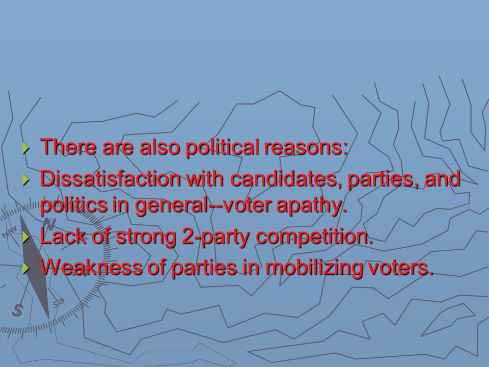  There are also political reasons:  Dissatisfaction with candidates, parties, and politics in general--voter apathy.  Lack of strong 2-party compet