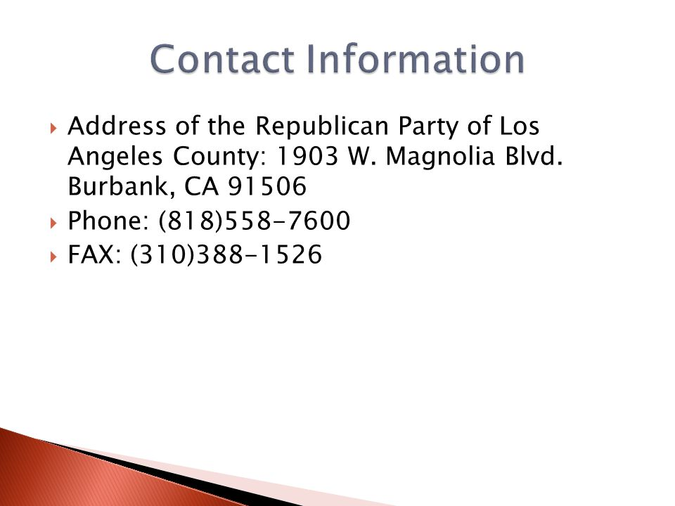  Address of the Republican Party of Los Angeles County: 1903 W.
