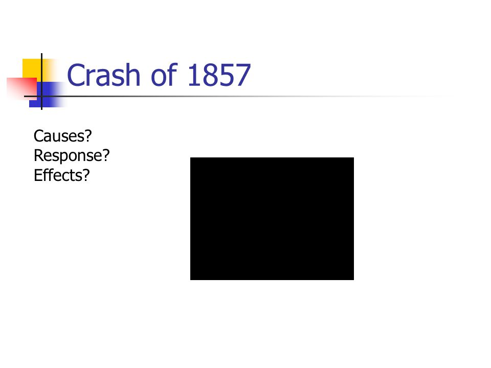 Crash of 1857 Causes? Response? Effects?