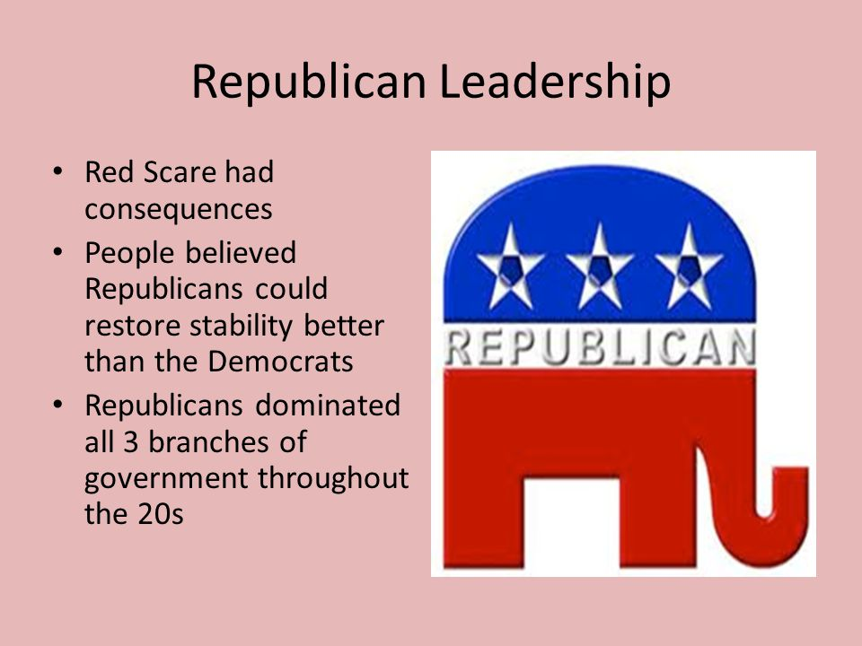 Republican Leadership Red Scare had consequences People believed Republicans could restore stability better than the Democrats Republicans dominated a