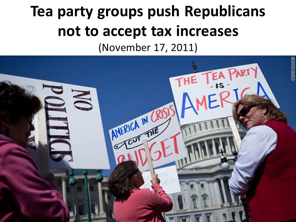 Tea party groups push Republicans not to accept tax increases (November 17, 2011)