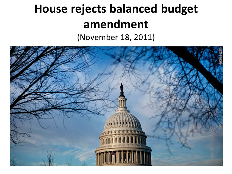 House rejects balanced budget amendment (November 18, 2011)
