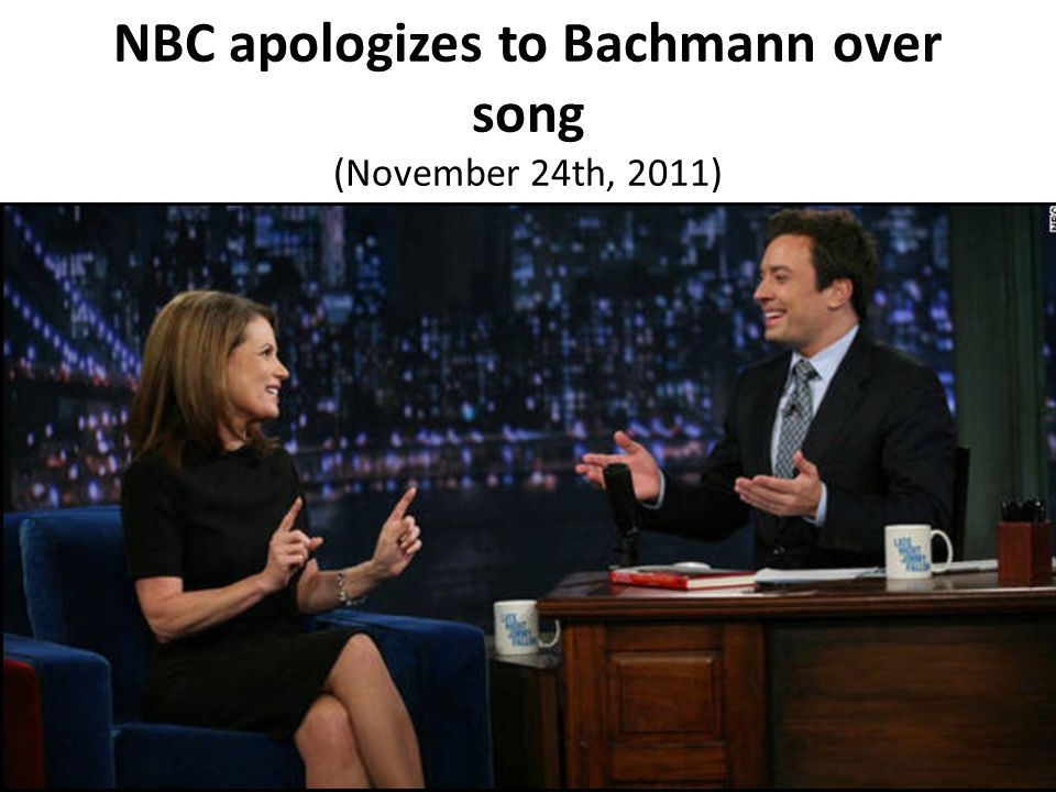 NBC apologizes to Bachmann over song (November 24th, 2011)