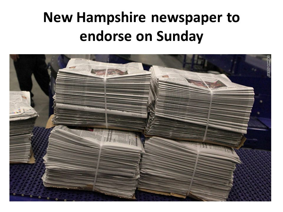 New Hampshire newspaper to endorse on Sunday