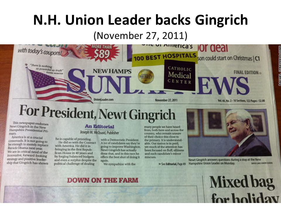 N.H. Union Leader backs Gingrich (November 27, 2011)