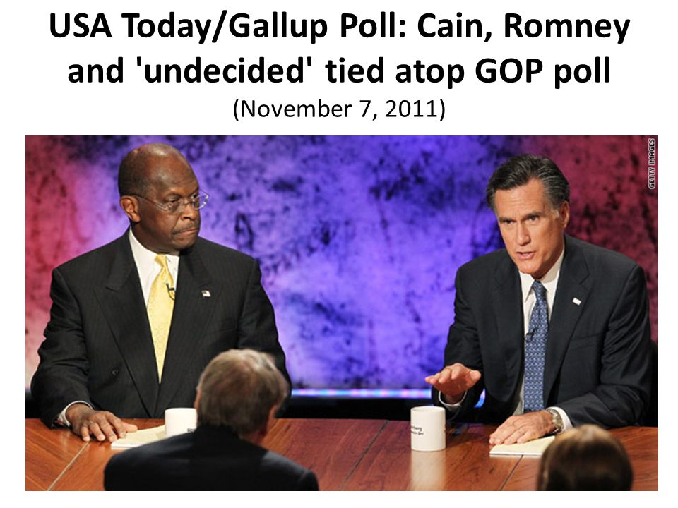 USA Today/Gallup Poll: Cain, Romney and undecided tied atop GOP poll (November 7, 2011)
