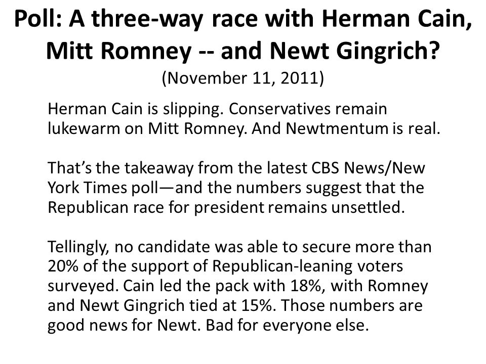 Herman Cain is slipping. Conservatives remain lukewarm on Mitt Romney.