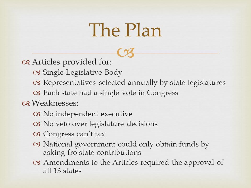   Articles provided for:  Single Legislative Body  Representatives selected annually by state legislatures  Each state had a single vote in Congr