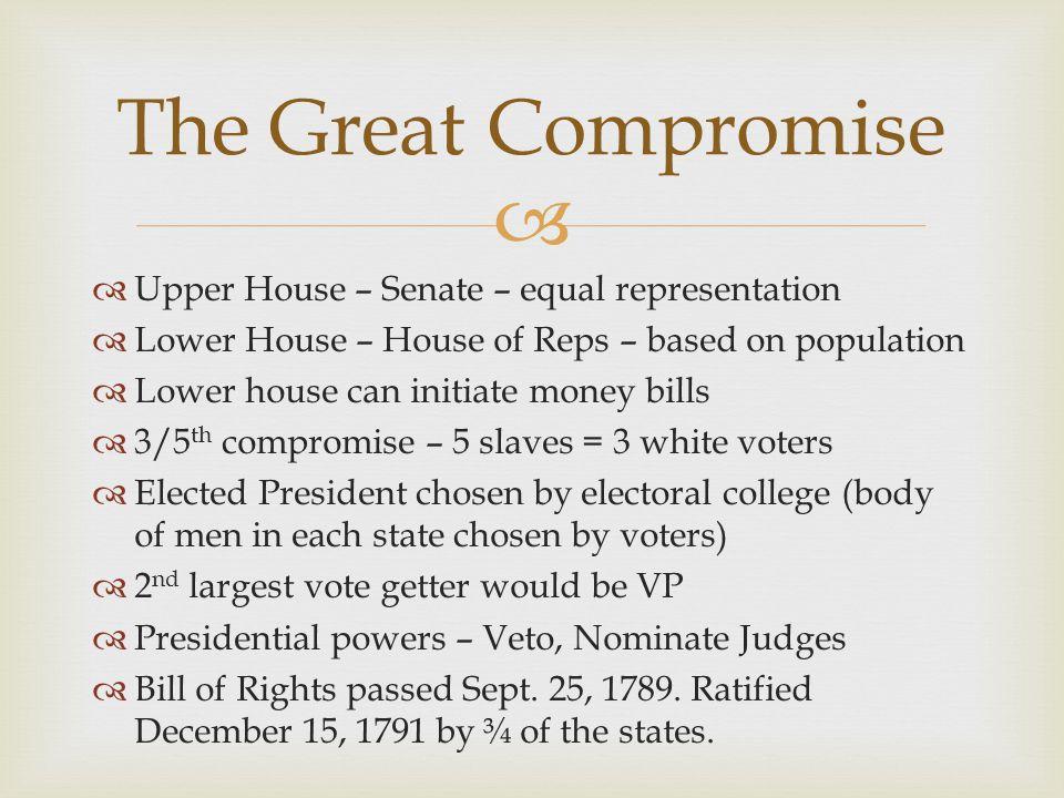   Upper House – Senate – equal representation  Lower House – House of Reps – based on population  Lower house can initiate money bills  3/5 th co