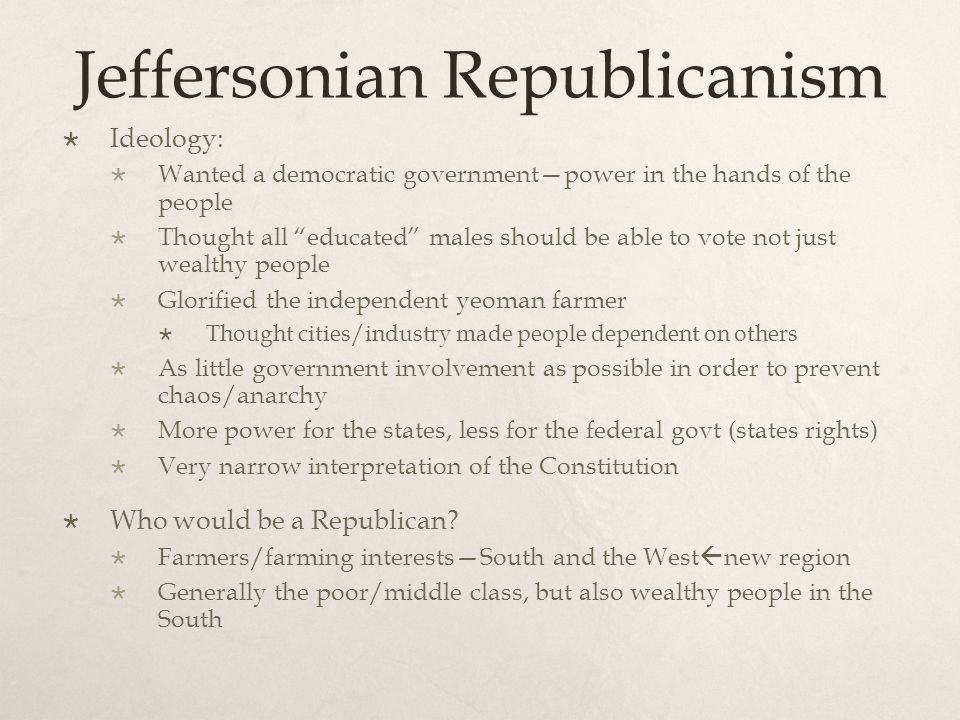 Compare and Contrast: Republican vs Federalist RepublicanFederalist South and WestNew England, northern parts of the Middle States Farmers, rural areasMerchants, factory owners, cities Poor/middle classMiddle class and upper class Friendship with FranceFriendship with Britain Narrow interpretation of Const.Broad Interpretation of Const.