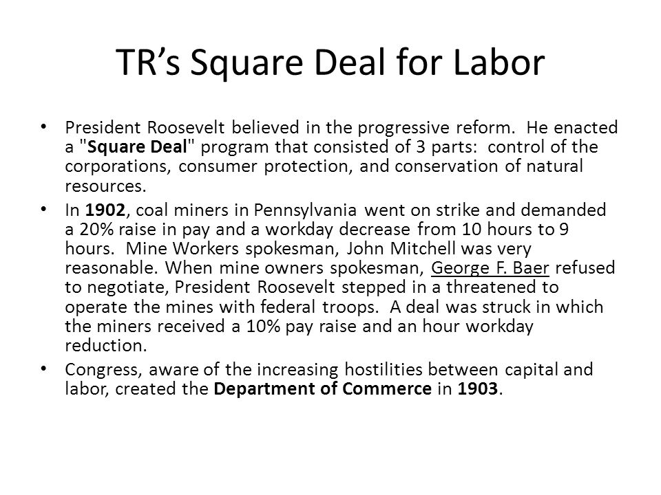 TR's Square Deal for Labor President Roosevelt believed in the progressive reform.
