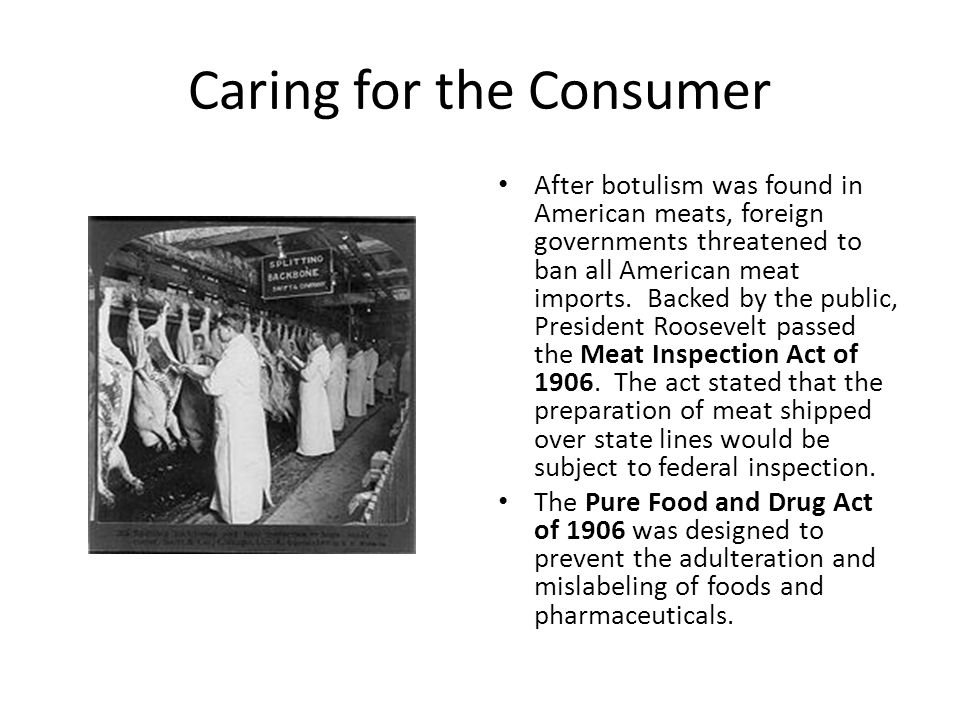 Caring for the Consumer After botulism was found in American meats, foreign governments threatened to ban all American meat imports.