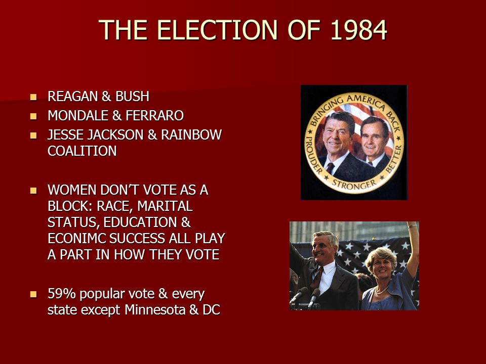 THE ELECTION OF 1984 REAGAN & BUSH REAGAN & BUSH MONDALE & FERRARO MONDALE & FERRARO JESSE JACKSON & RAINBOW COALITION JESSE JACKSON & RAINBOW COALITION WOMEN DON'T VOTE AS A BLOCK: RACE, MARITAL STATUS, EDUCATION & ECONIMC SUCCESS ALL PLAY A PART IN HOW THEY VOTE WOMEN DON'T VOTE AS A BLOCK: RACE, MARITAL STATUS, EDUCATION & ECONIMC SUCCESS ALL PLAY A PART IN HOW THEY VOTE 59% popular vote & every state except Minnesota & DC 59% popular vote & every state except Minnesota & DC