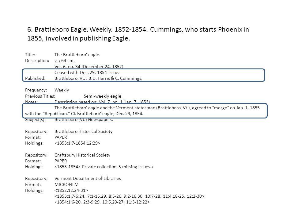 Title: The Brattleboro' eagle. Description: v. ; 64 cm.
