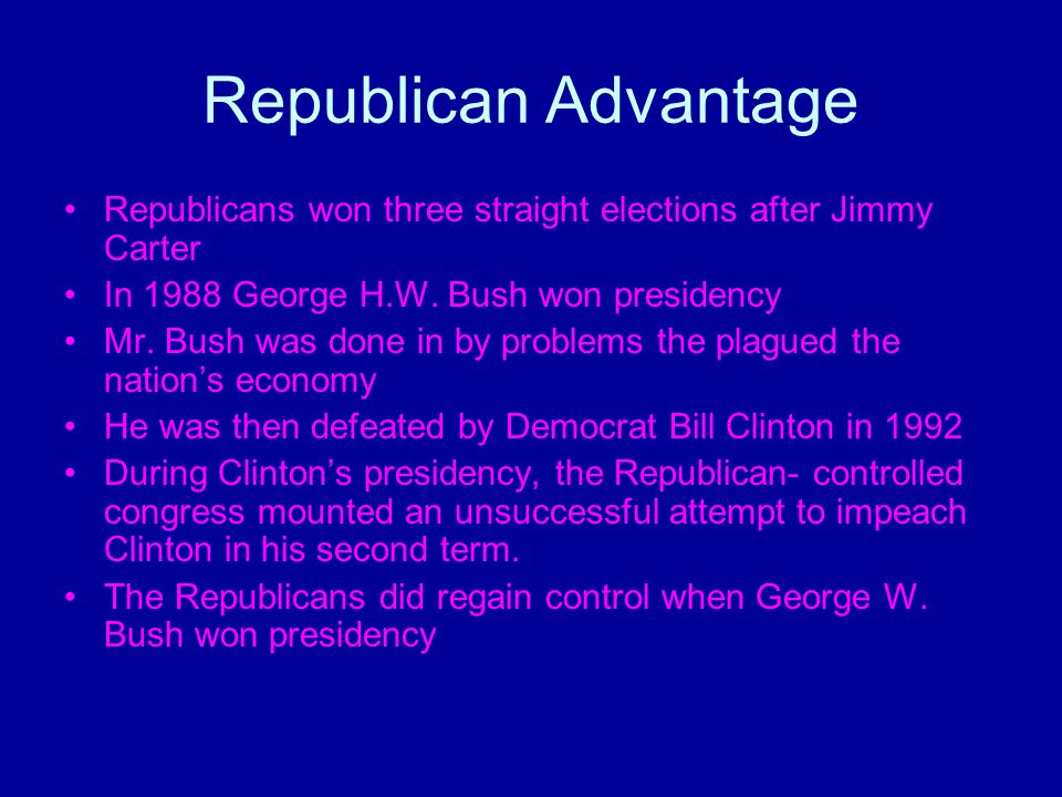 Republican Advantage Republicans won three straight elections after Jimmy Carter In 1988 George H.W. Bush won presidency Mr. Bush was done in by probl
