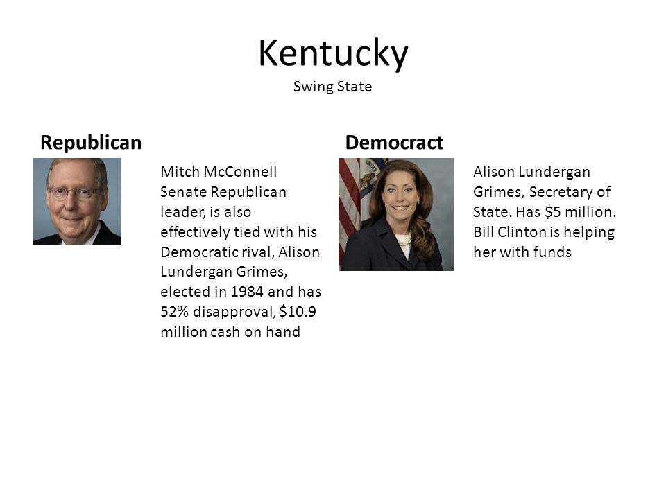 Kentucky Swing State RepublicanDemocract Mitch McConnell Senate Republican leader, is also effectively tied with his Democratic rival, Alison Lunderga