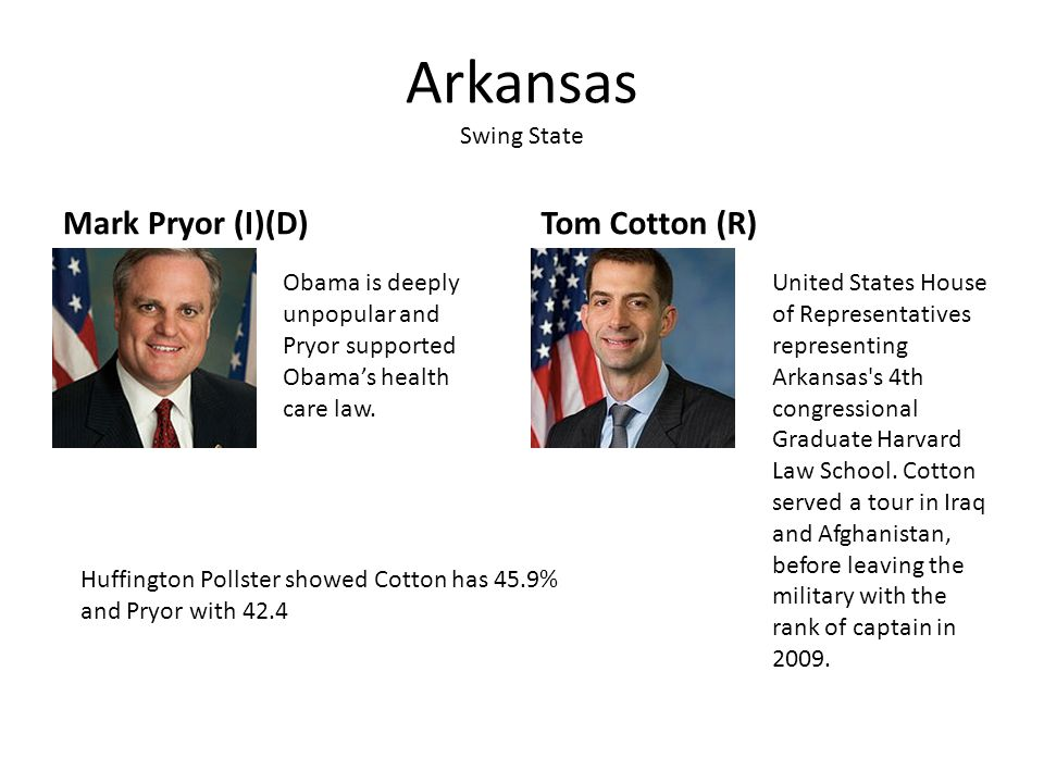 Arkansas Swing State Mark Pryor (I)(D)Tom Cotton (R) Obama is deeply unpopular and Pryor supported Obama's health care law. United States House of Rep