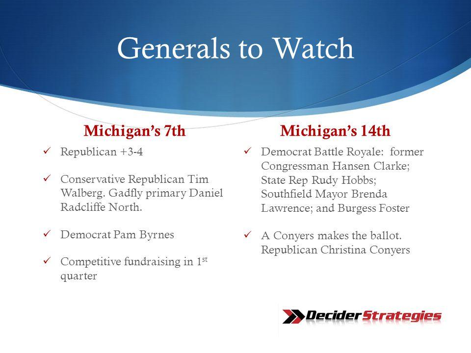 Generals to Watch Michigan's 7th Republican +3-4 Conservative Republican Tim Walberg.