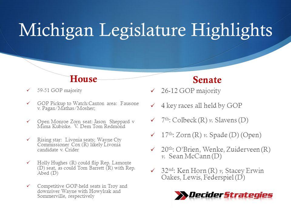 Michigan Legislature Highlights House 59-51 GOP majority GOP Pickup to Watch:Canton area: Fausone v.