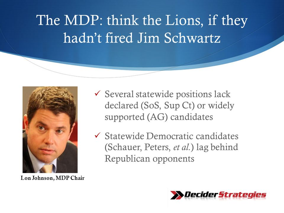 The MDP: think the Lions, if they hadn't fired Jim Schwartz Several statewide positions lack declared (SoS, Sup Ct) or widely supported (AG) candidates Statewide Democratic candidates (Schauer, Peters, et al.