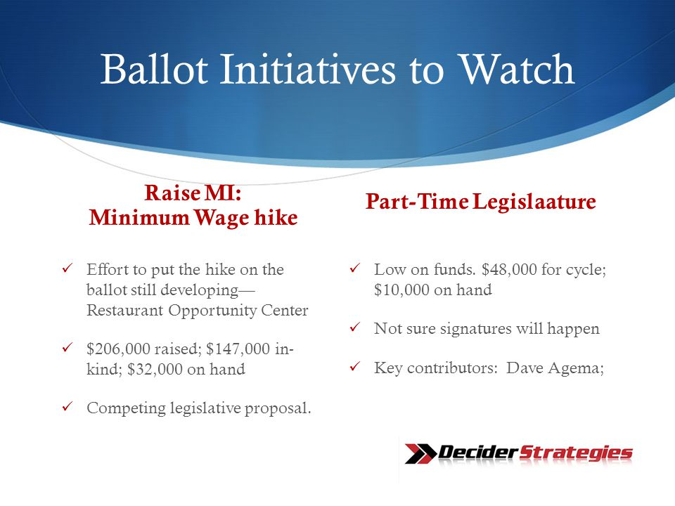 Ballot Initiatives to Watch Raise MI: Minimum Wage hike Effort to put the hike on the ballot still developing— Restaurant Opportunity Center $206,000 raised; $147,000 in- kind; $32,000 on hand Competing legislative proposal.