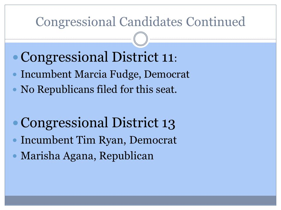 Congressional Candidates Continued Congressional District 11 : Incumbent Marcia Fudge, Democrat No Republicans filed for this seat.