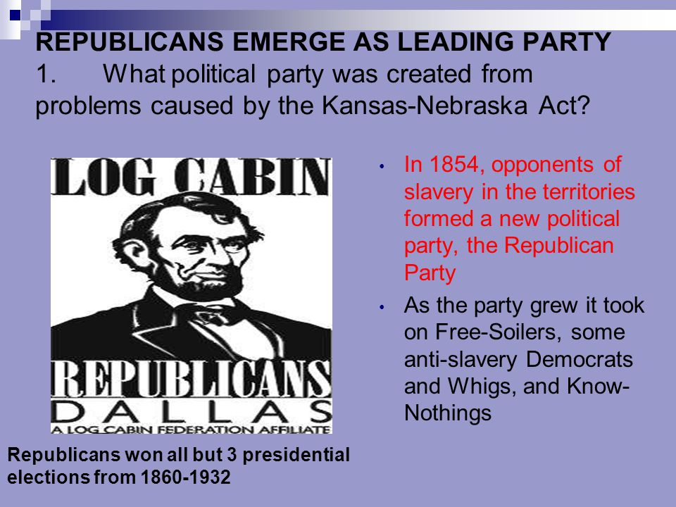The Republican Party Forms Grew from split in the Whig Party over the Kansas-Nebraska Act Southern whigs were destroyed Northern whigs joined with other opponents of slavery and formed the Republican Party Ran John C.