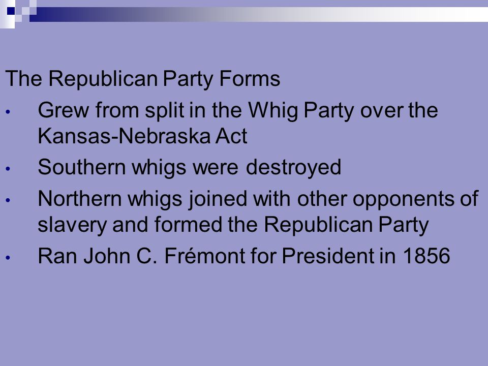 2.Why did the Whig party split.