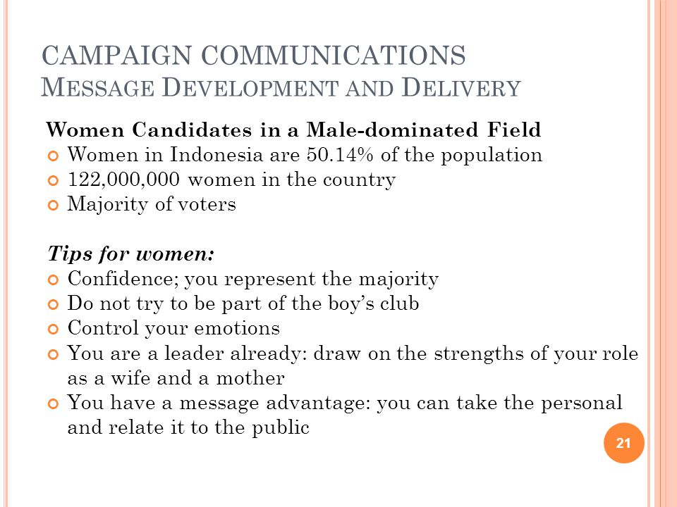 CAMPAIGN COMMUNICATIONS M ESSAGE D EVELOPMENT AND D ELIVERY Women Candidates in a Male-dominated Field Women in Indonesia are 50.14% of the population 122,000,000 women in the country Majority of voters Tips for women: Confidence; you represent the majority Do not try to be part of the boy's club Control your emotions You are a leader already: draw on the strengths of your role as a wife and a mother You have a message advantage: you can take the personal and relate it to the public 21