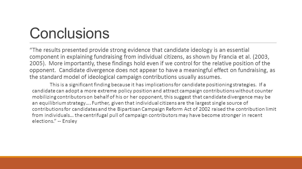 Conclusions The results presented provide strong evidence that candidate ideology is an essential component in explaining fundraising from individual citizens, as shown by Francia et al.