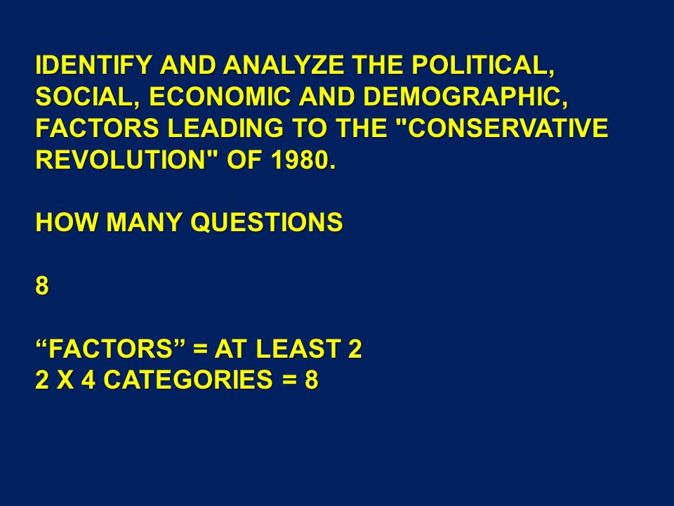 IDENTIFY AND ANALYZE THE POLITICAL, SOCIAL, ECONOMIC AND DEMOGRAPHIC, FACTORS LEADING TO THE CONSERVATIVE REVOLUTION OF 1980.