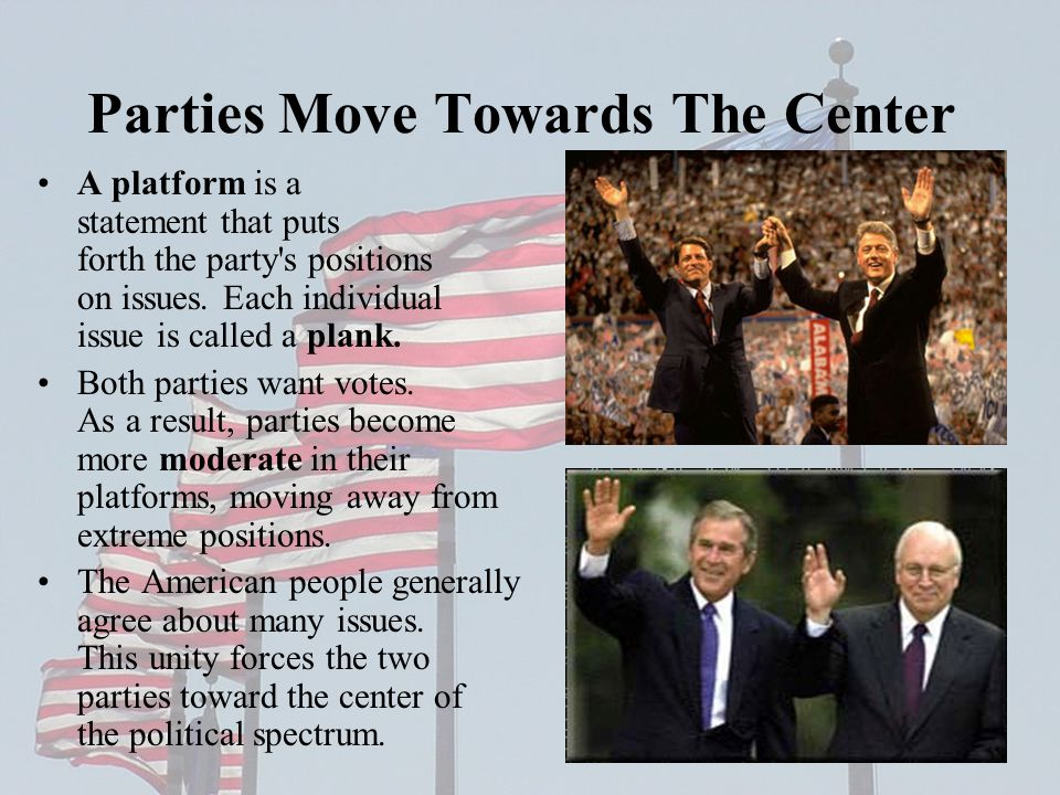 Parties Move Towards The Center A platform is a statement that puts forth the party s positions on issues.