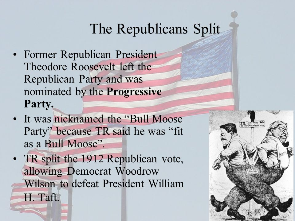 The Republicans Split Former Republican President Theodore Roosevelt left the Republican Party and was nominated by the Progressive Party.