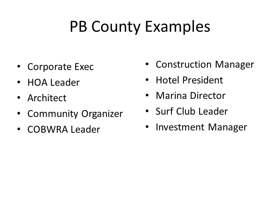 PB County Examples Corporate Exec HOA Leader Architect Community Organizer COBWRA Leader Construction Manager Hotel President Marina Director Surf Club Leader Investment Manager