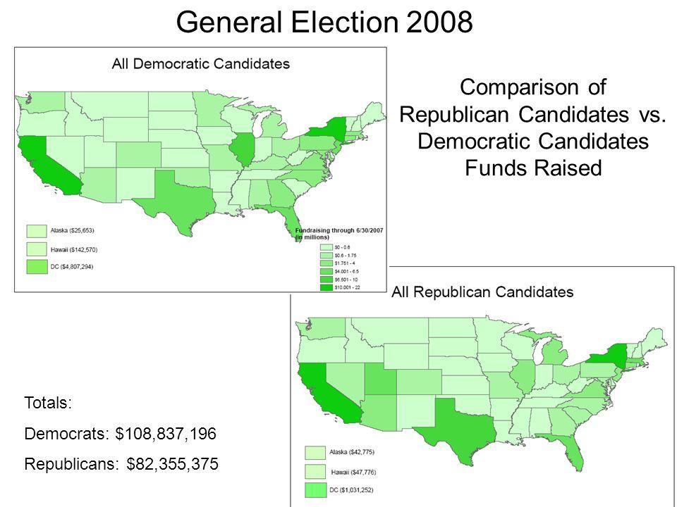 Comparison of Republican Candidates vs. Democratic Candidates Funds Raised Totals: Democrats: $108,837,196 Republicans: $82,355,375 General Election 2