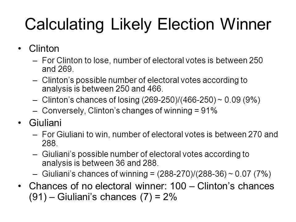 Calculating Likely Election Winner Clinton –For Clinton to lose, number of electoral votes is between 250 and 269. –Clinton's possible number of elect