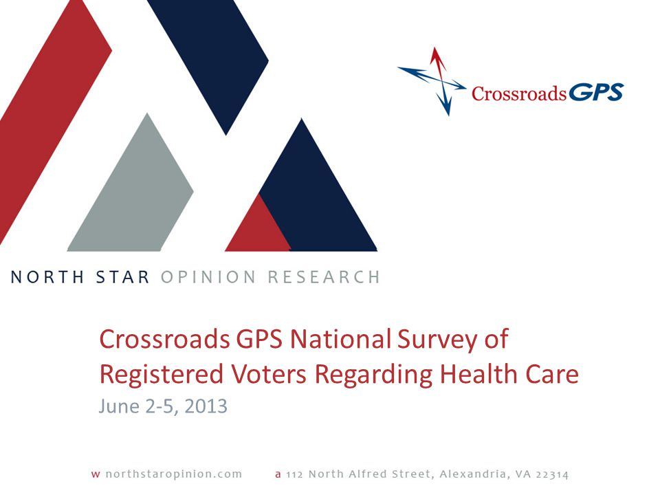 Crossroads GPS National Survey of Registered Voters Regarding Health Care June 2-5, 2013