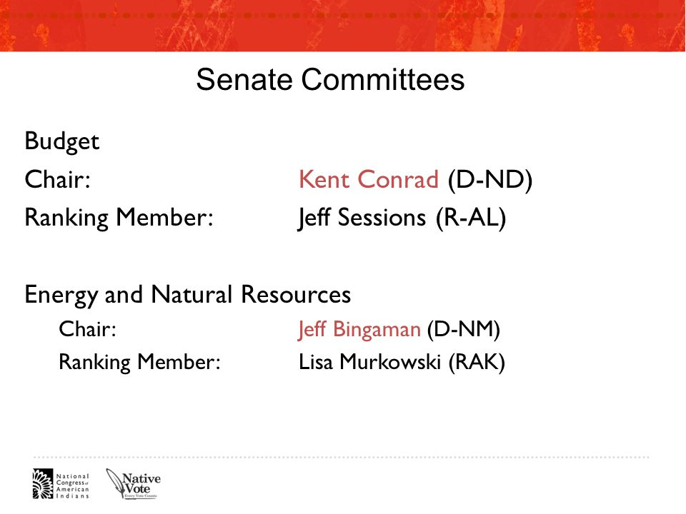 Senate Committees Budget Chair:Kent Conrad (D-ND) Ranking Member:Jeff Sessions (R-AL) Energy and Natural Resources Chair:Jeff Bingaman (D-NM) Ranking