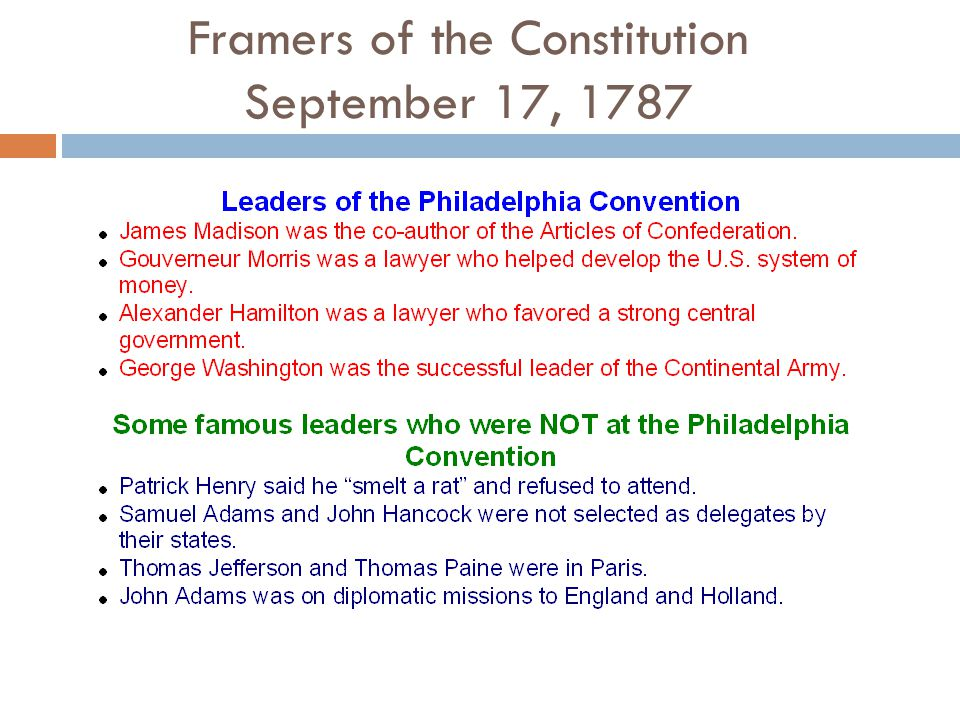Framers of the Constitution September 17, 1787