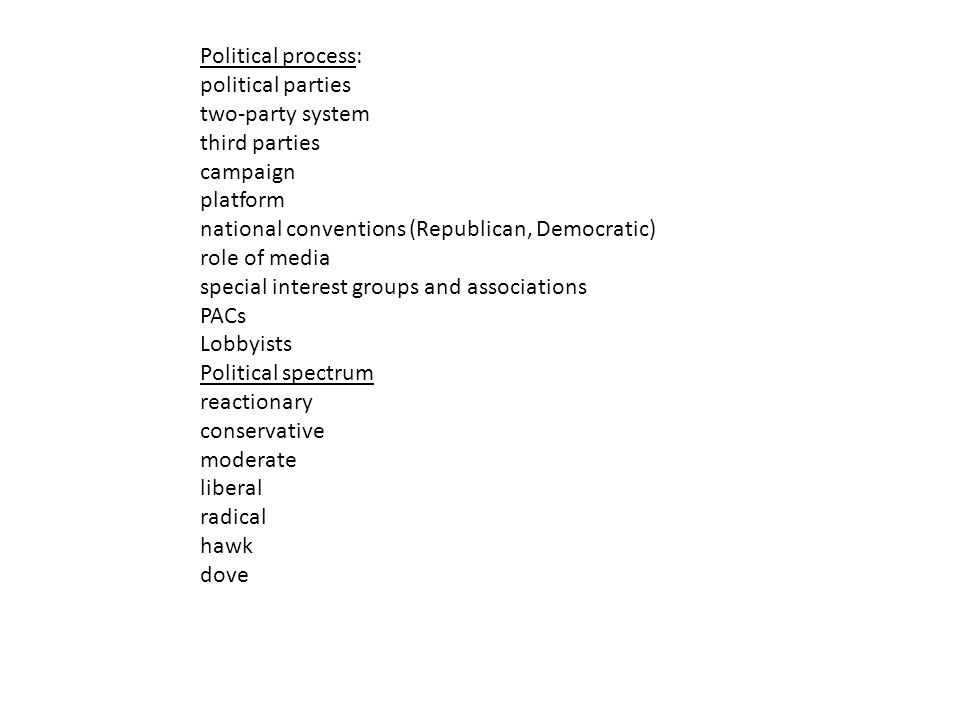 Political process: political parties two-party system third parties campaign platform national conventions (Republican, Democratic) role of media special interest groups and associations PACs Lobbyists Political spectrum reactionary conservative moderate liberal radical hawk dove