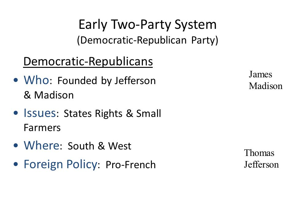 Early Two-Party System (Federalist Party) Alexander Hamilton Federalists Who : Founded by Hamilton Issues : Strong Central Government, Pro-business Where : Northeast Foreign Policy : Pro-British